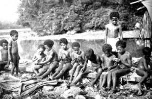 group of Melanesian girls